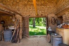 Rural shed. With door to garden Stock Photo