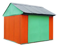 The rural shed is made of corrugated iron sheets isolated Royalty Free Stock Photo