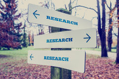 Rural signboard with the word Research with arrows pointing in t Royalty Free Stock Image