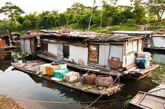 Rural slum on rier, favela in China stock image