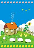Rural small house. Rural small house with a fence, flowers and farm animals - vector illustration in cartoon style Stock Photos
