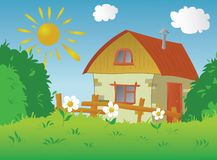 Rural small house. The image of a rural small house in a sunny day Stock Illustration