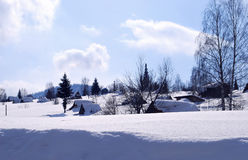 Rural small houses in a snow Stock Photography