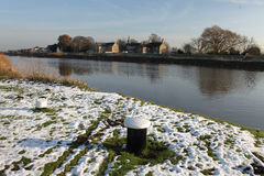 Rural snowscape with river Trent. Stock Image