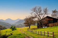Free Rural Southern California Landscape With Fenced Wooden Hut. Royalty Free Stock Image - 204802896