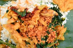 Rural specialties from Indonesia, the name is corn rice or pecel rice. Rural specialties from Indonesia, the name is corn rice or vegetable rice stock photography