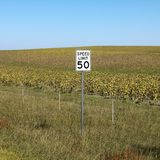 Rural speed limit sign. Stock Photography
