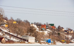 Rural spring landscape with residential houses Stock Photography