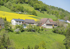 Rural springtime scenery. Sunny illuminated idyllic rural springtime scenery in Hohenlohe, a district in Southern Germany Royalty Free Stock Photos
