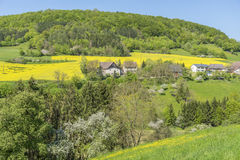 Rural springtime scenery. Sunny illuminated idyllic rural springtime scenery in Hohenlohe, a district in Southern Germany Royalty Free Stock Images
