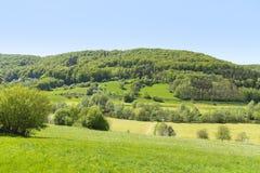 Rural springtime scenery. Sunny illuminated idyllic rural springtime scenery in Hohenlohe, a district in Southern Germany Stock Photos