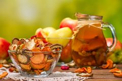 Rural still-life - compote with dried fruits from apples and pears close-up Stock Image