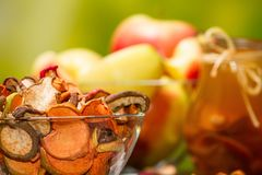 Rural still-life - compote with dried fruits from apples and pears close-up Stock Photography