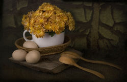 Rural Still Life With Eggs Stock Photo
