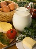 Rural still-life with a milk jug Stock Image