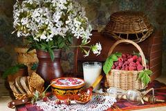Rural still life with raspberries and milk. Rural still life with ripe raspberries and milk Royalty Free Stock Photos