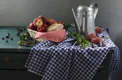 Rural still life with ripe peaches Stock Photos
