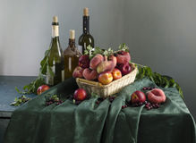 Rural still life with ripe peaches royalty free stock images