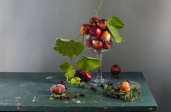 Rural still life with ripe peaches royalty free stock photography