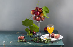 Rural still life with ripe peaches royalty free stock photo