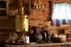 Rural Still Life with a Russian samovar. Royalty Free Stock Photos