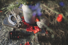 Rural Still Life. Still Life with a horseshoe tangle of thread and poppy petals Royalty Free Stock Photography