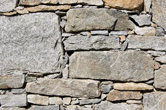 Rural stone wall. A wall of a rural mountain house made of stones Stock Image