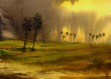 Rural Storm  - Watercolor on paper painting Stock Images