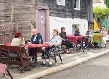 Rural street cafe at the Nestinarski Games in Bulgaria