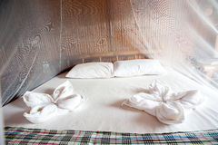 Rural style bedroom with canopy bed Royalty Free Stock Photos