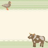 Rural style card with cow and goose Stock Images