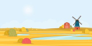 Rural summer landscape with a old windmill Royalty Free Stock Photos