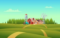Rural summer landscape with a red shed farm, house, truck, water tower and windmill.  Royalty Free Stock Photos