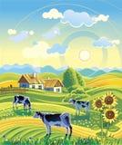 Rural summer landscape stock illustration