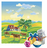 Rural summer landscape. Vector illustration. Rural summer landscape. A lot of details: the flowers and hills, cows and garden. Bright colors for the transfer of Stock Image