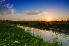 Rural summer sunrise Stock Photo