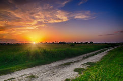 Rural summer sunset. Landscape with  dramatic colorful sky and sun Royalty Free Stock Image