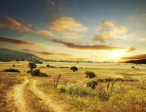 Rural sunset Stock Image
