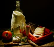 Rural supper with vodka. Still-life about rural supper with vodka Royalty Free Stock Photography