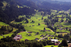 Rural Switzerland. Residential homes on the slopes outside of Grindelwald, Switzerland royalty free stock photo