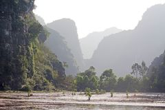 Rural terrain in Ninh Binh city, Vietnam. Ninh Bình is a province of Vietnam, in the Red River Delta region of the northern part of the country. The royalty free stock photo