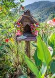 Rural Thai wooden spirit house Stock Image