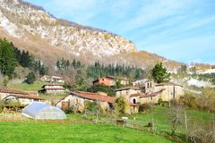 Rural tourism at Basque Country fields, Spain. Countryside town located at Basque Country in Aramaio valley, Spain Royalty Free Stock Images