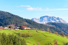 Rural tourism at Basque Country fields, Spain. Countryside town located at Basque Country in Aramaio valley, Spain Stock Images