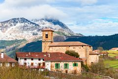 Rural tourism at Basque Country fields, Spain. Countryside town located at Basque Country in Aramaio valley, Spain Royalty Free Stock Photos