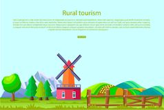 Rural Tourism Poster with Countryside Landscape Stock Photo