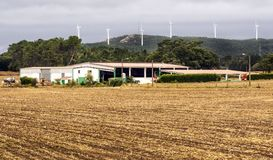 Farm in the meadows. Of the north of Spain in a cloudy day stock image