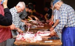 Rural traditional Butchering chopping Royalty Free Stock Photos