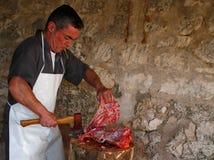 Rural traditional Butchering chopping Stock Photos