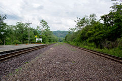 The rural train station in somwhere of Thailand.  royalty free stock image